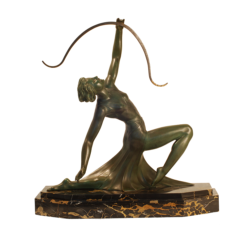 g daverny antique art deco sculpture of diana the archer. Black Bedroom Furniture Sets. Home Design Ideas