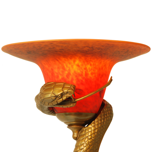 Edgar Brandt Style Art Deco Bronze Snake Floor Lamp